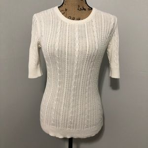 {Ann Taylor} White Cable Knit Sweater